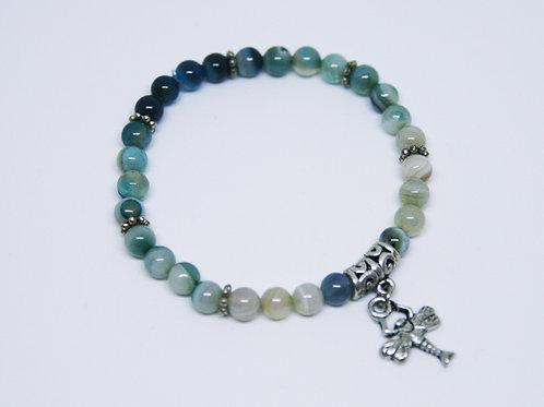 Variegated Blue Striped Agate Bracelet