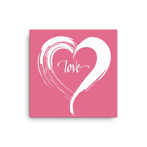 White and Pink Love Heart Canvas