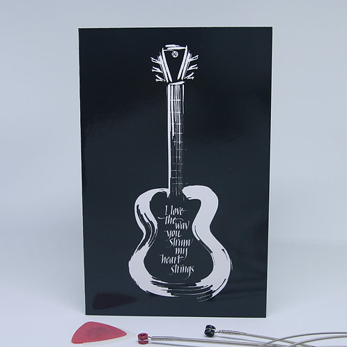 Guitar heart strings love music black and white greeting card front view
