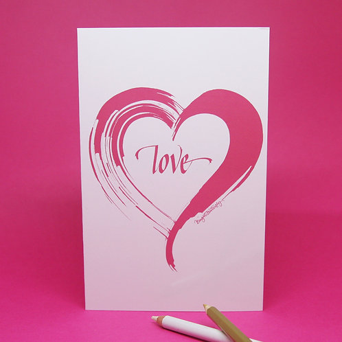 Love heart white on pink card front view