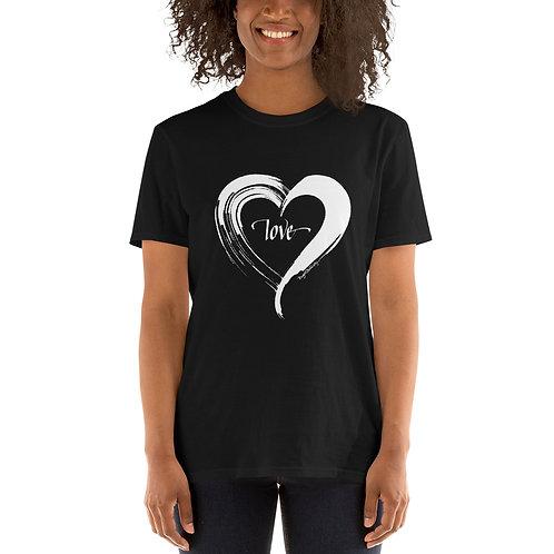 Love Heart Black and White Short-Sleeve Unisex T-Shirt