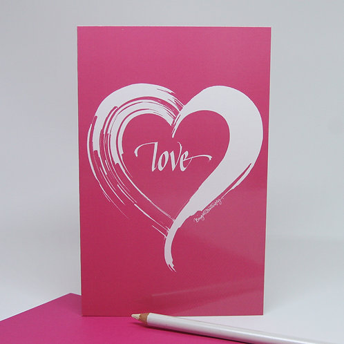 Love heart pink card front view