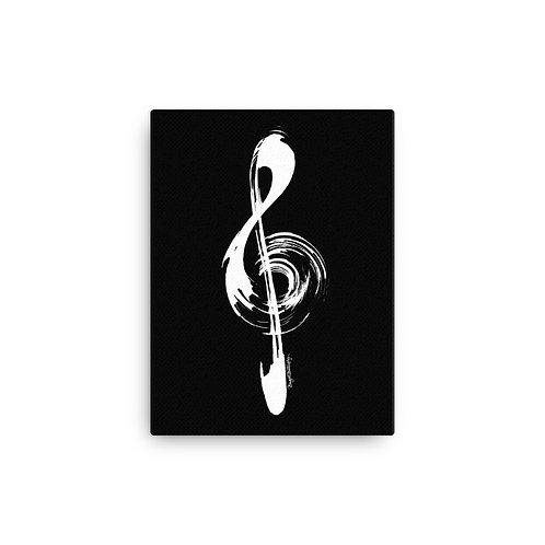White and Black Music Treble Clef Canvas