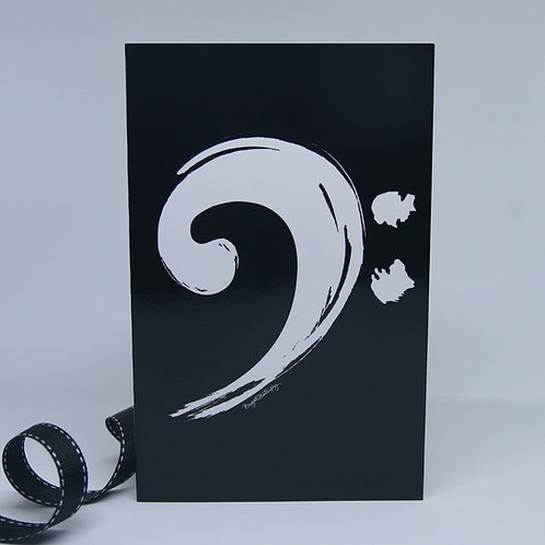 music bass clef black and white greeting card front view