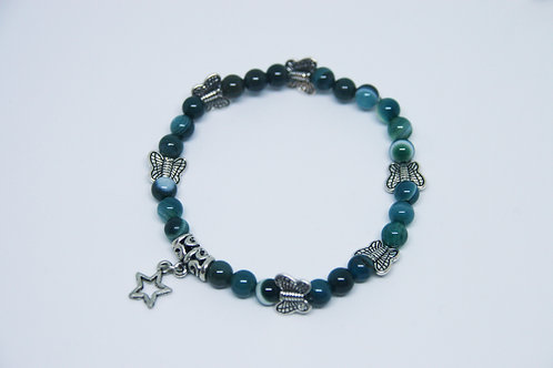Star Charm Blue Striped Agate Bracelet