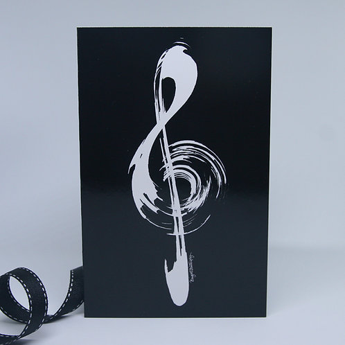 music treble clef black and white greeting card front view