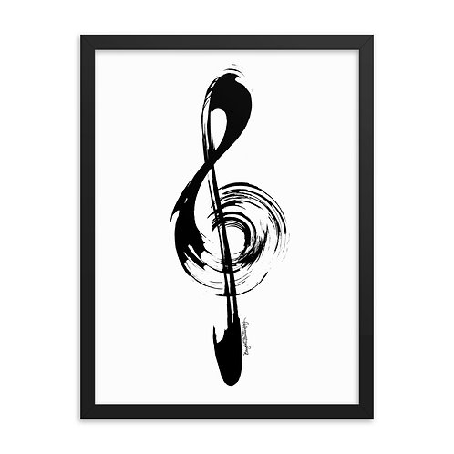 Black and White Music Treble Clef Framed Poster