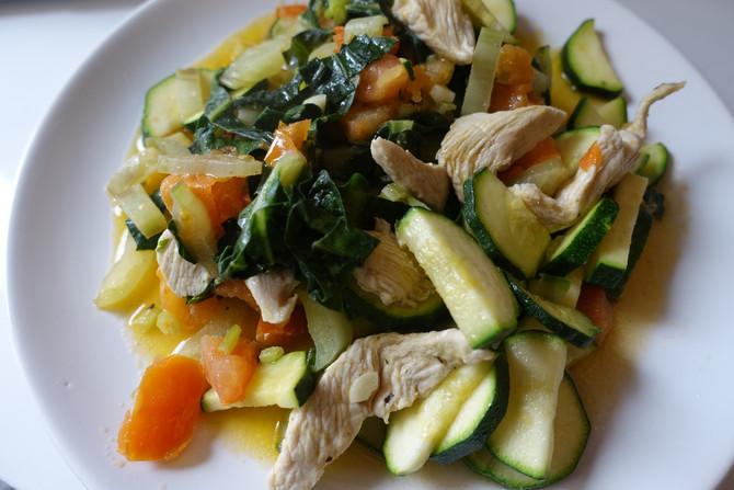 Poêlée façon Wok blettes, carottes, courgette et Poulet
