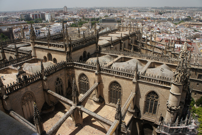 The Seville Cathedral as seen from the tower