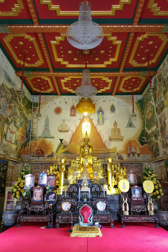 Inside a temple. The raised, carpeted platform is reserved for monks.