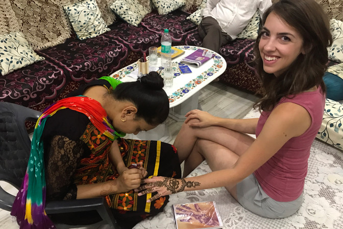 Yusuf's daughter-in-law doing henna for me