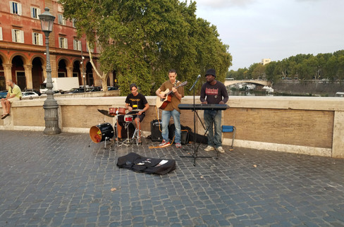 On the way back to our apartment, we ran across our Calcata Airbnb host playing with his band, Vigili del Suono (Guardians of Sound, or something like that)