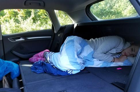Not very comfortable. Also Brandon spilled meusli all over the trunk.