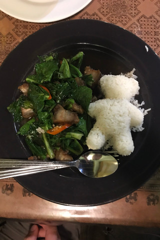Pork belly and Chinese broccoli with teddy bear rice