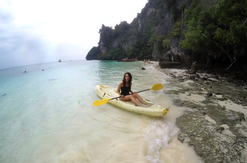 We kayaked to Monkey Beach, where — you guessed it — we watched some monkeys. One of them climbed on the kayak and lunged at me; I instinctively smacked him with my paddle. Sorry, monkey!