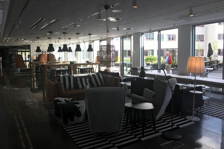 A lounge space near the lobby