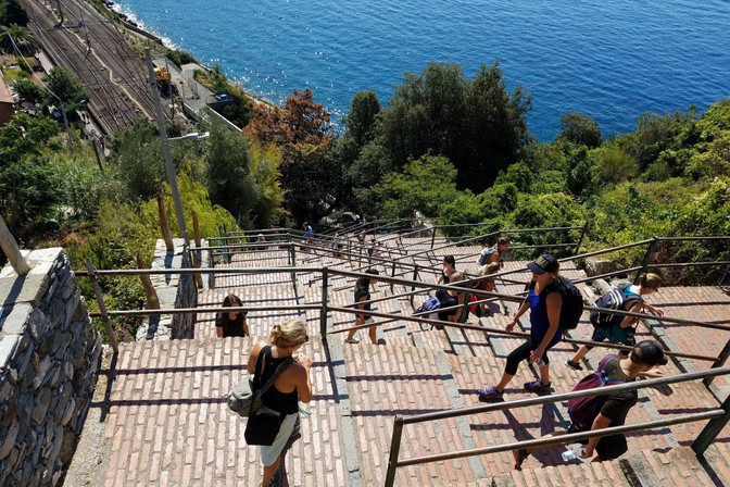 After taking the train to Corniglia (the middle town), you have to climb up all these steps!