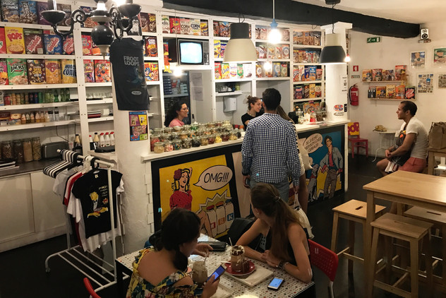 After a drink at a nearby bar, we stumbled upon this cereal cafe.
