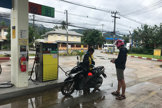 Filling up at a real gas station (!)