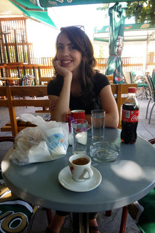 Stopping for a coffee on the way back to Sarajevo. That bag is full of burek and yogurt for the road.