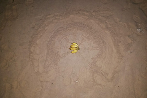 Bananas on the beach at night