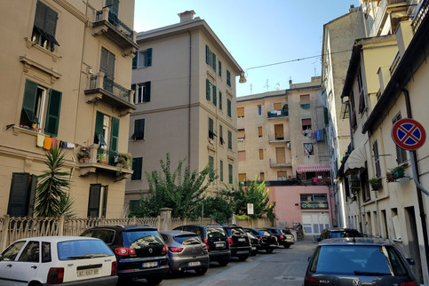 We walked from the train station to our Airbnb in La Spezia