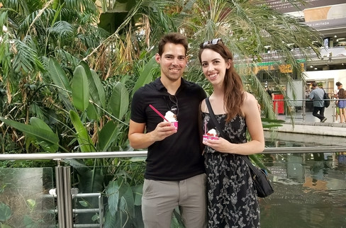 We stopped by the train station to take a look — there's a huge indoor garden — and wound up with frozen yogurt from Smöoy.