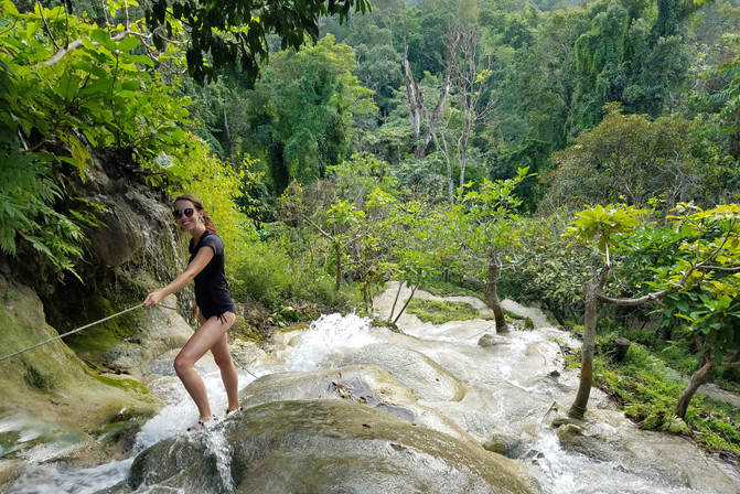 The thing to do is climb down the waterfall on the cool lime formations.