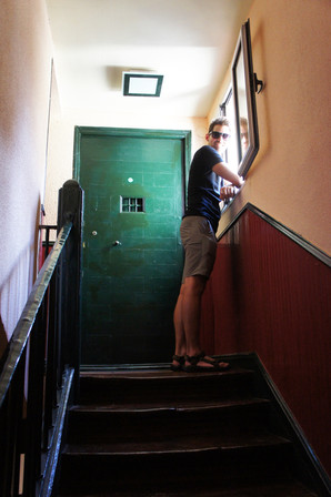 Brandon by the door to our Airbnb