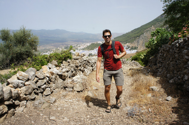 Two of our new friends, Lou and Mattia, invited us to join them the next day on a tour of a hash farm. Cannabis is widely accepted in Morocco, but still illegal, so our guide requested that we not take photos of him. Here's Brandon on the hike to the farm.
