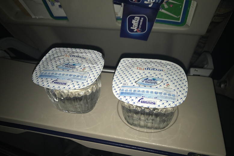 I asked for water on the plane and was handed these two pudding cups.