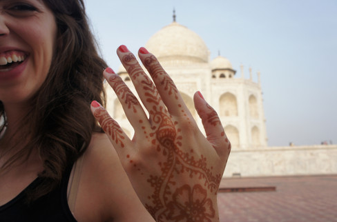 Brandon kept wanting photos of my henna with the Taj, but I'm not a good hand model.