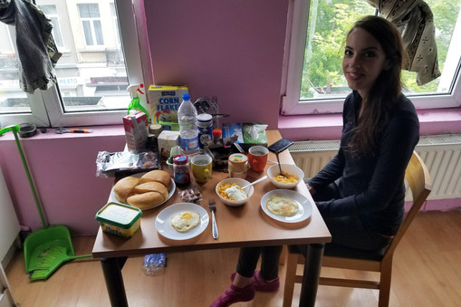 Our Airbnb host made us breakfast the next morning.