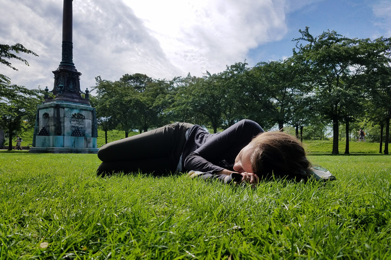 I made Brandon stop so I could take a nap in the park.