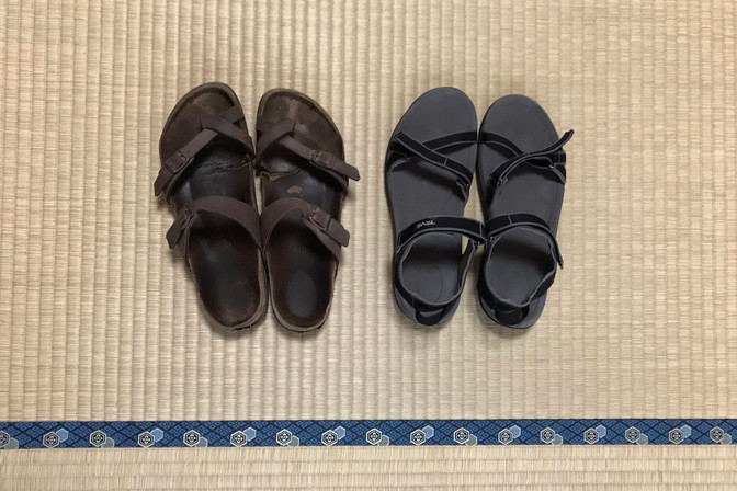 Old sandals, new sandals Sam and Rashaun brought for me. I shouldn't have put them on the tatami mat — don't know what I was thinking.