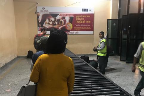 Baggage claim at the Kathmandu airport