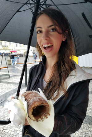 Chocolate-filled trdelník for breakfast