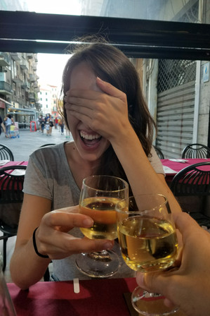 We went out to dinner and had some TERRIBLE seafood. The wine was great, though —what is there to do but laugh and get gelato for dessert?