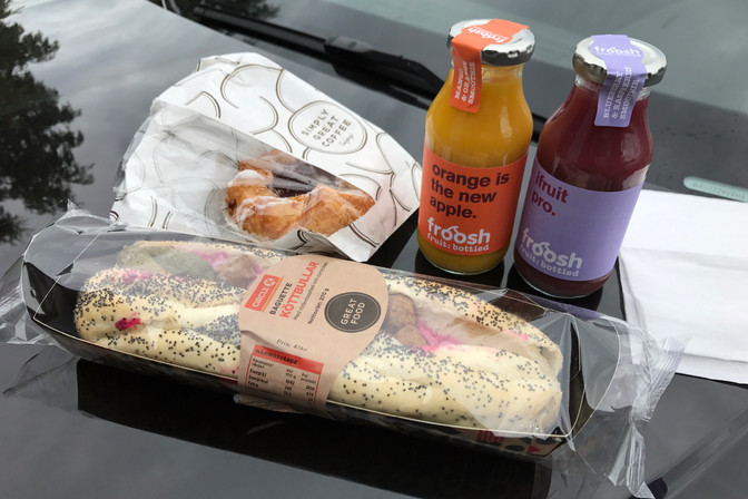 Swedish gas station lunch. That's a meatball-beet-pickle sandwich, and it was delicious.
