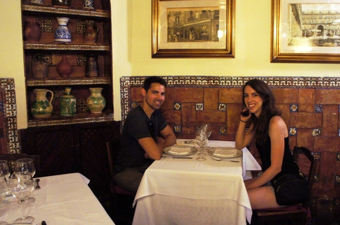 Sitting at Hemingway's table (just on the tour; we didn't make it back to try the pig)