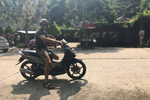 It's a little hard to get around Cat Ba entirely on foot, so we rented this scooter from our hotel manager for $6/day. We drove it about 50 feet down the street before we fell over sideways.