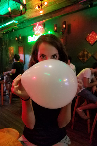 At the first bar, we bought a balloon full of nitrous oxide. Apparently this is a thing here. Maybe we didn't inhale enough, but we were disappointingly non-giggly. It really didn't do much.