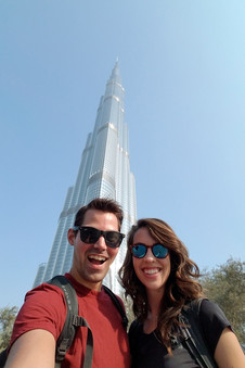 Taking a photo before we figured out how to get into the Burj Khalifa