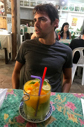 We ordered drinks with dinner, only to discover that all drinks on the island are bucket-sized.