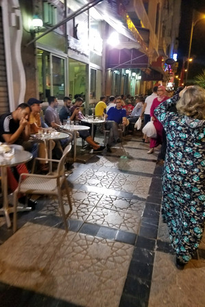 We noticed that the cafes were mainly filled with men.