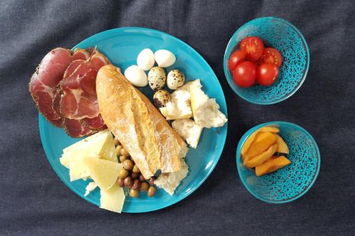 Jamón, bread, manchego cheese, quail eggs, etc.