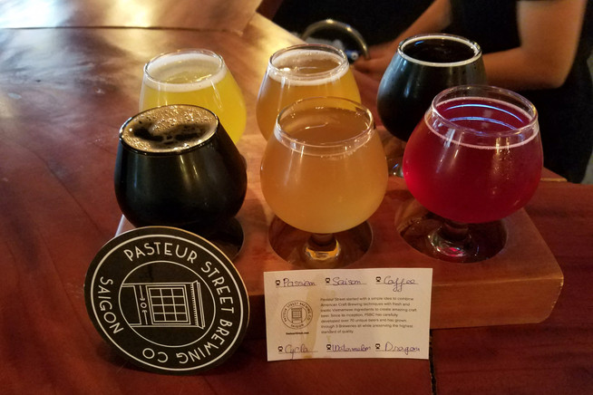 Beer flight at a hipster brewery
