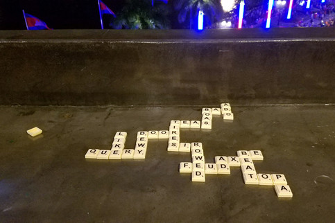 We also found a Scrabble set and played Bananagrams with it