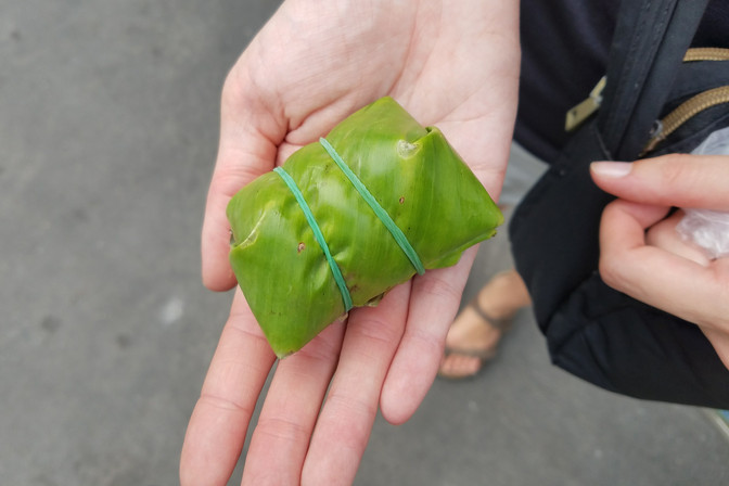 I chose this pork sausage leaf, which I didn't realize was raw. You're supposed to eat it that way, but I chickened out.