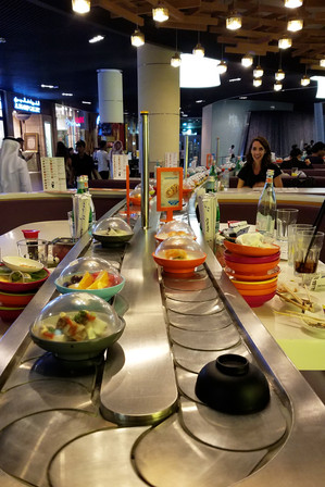 We ate at a sushi place in the mall. Brandon stuck his GoPro on the conveyor belt and let it ride around.